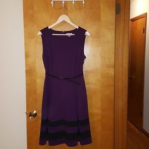 Calvin Klein plumb and black a line dress NWT